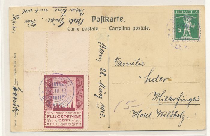 Switzerland 1913/1963 - Airmail collection starting with a precursor on a letter - sbk