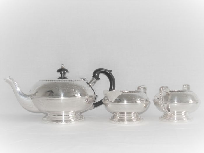 Flawless silver-plated Teapot with cream set. (3) - Empire Style - Silverplate