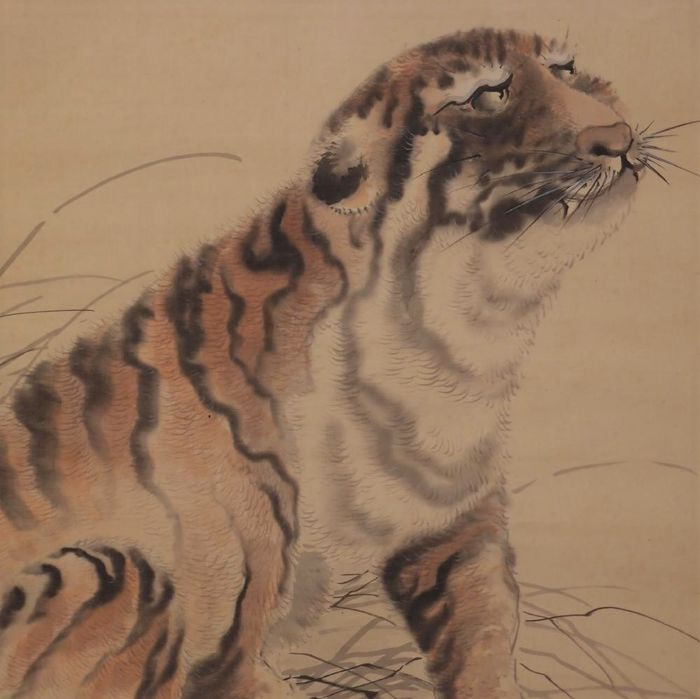 Hanging scroll, Painting - Silk - Tiger - signed Ohashi Suiseki 大橋翠石 (1865-1945) - Japan - Early 20th century