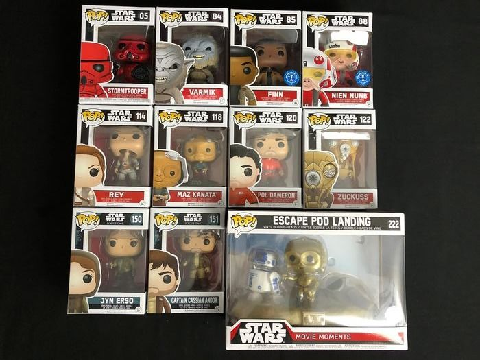 Star Wars - Funko - Lot of 11 POP Star Wars figures with Exclusives and Movie Moments in original boxes
