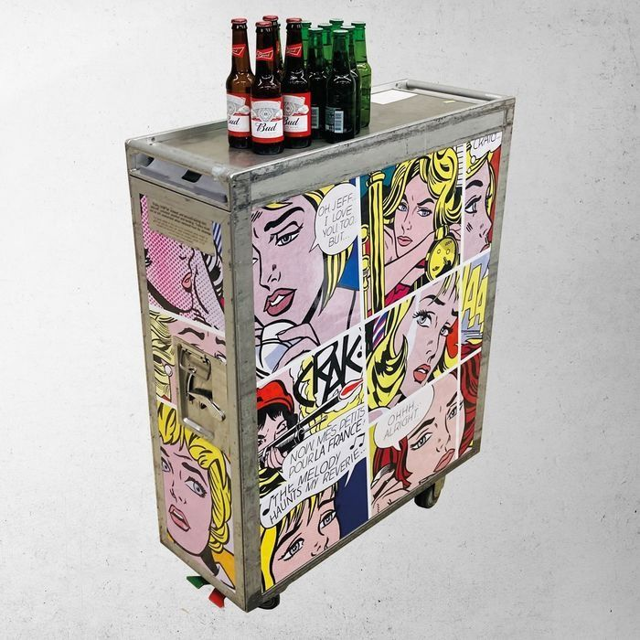 AirlineTrolleyArt - Roy Lichtenstein inspiration - Trolley, Aircraft trolley, Catering trolley, Galleycart - PopArt