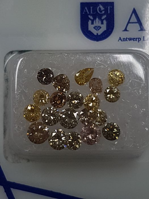 20 pcs Diamantes - 2.22 ct - Brillante, Ovalado, Pera - Fancy Colors - I2, VS1, VS2