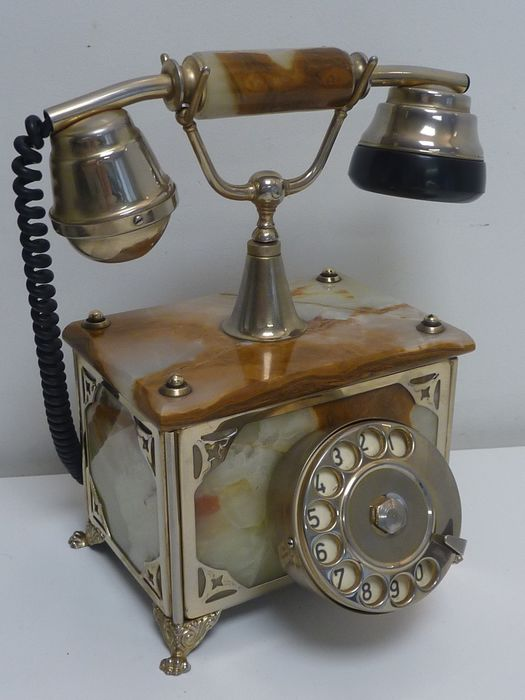 Gold plated 18K - Onyx Telephone  F.A.T.A.P. Made in Italy - Telephone - Onyx