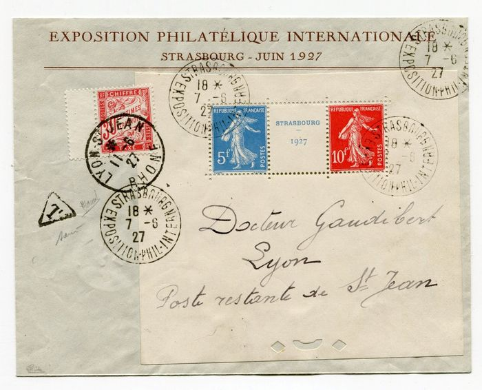 Frankreich 1927 - Block No. 2 Strasbourg exhibition on posted letter with the Exhibition's stationary header, signed Calves. RRR - Yvert