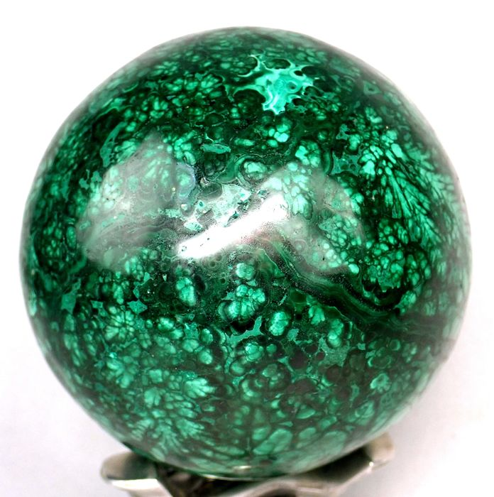 """Large First Quality """"Flower"""" Malachite Sphere - 98.99×98.99×98.99 mm - 1991.8 g"""