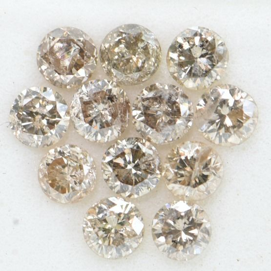 12 pcs Diamant - 1.15 ct - Brillant rond - Brown - SI3-I2     GWLAB certified    ** No Reserve Price **
