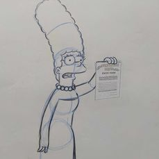 The Simpsons - Original drawing of Marge Simpson `Demolition Derby` - Uniek