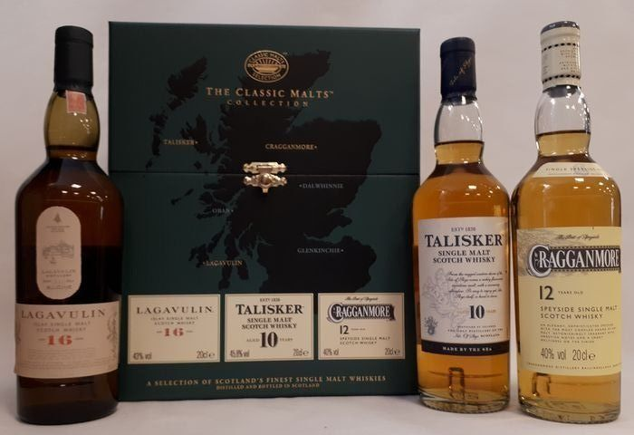 Lagavulin 16 years old - Talisker 10 years old - Cragganmore 12 years old - Classic Malt Selection in a box - Original bottling - 20cl - 3 bottles