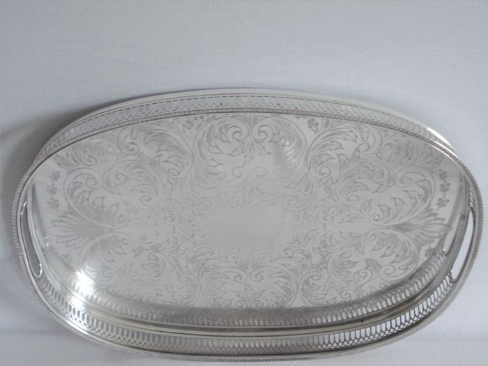 Cavalier  - Silver Plated Tea Tray. Serving dish with handles. (1) - Empire - Silverplate
