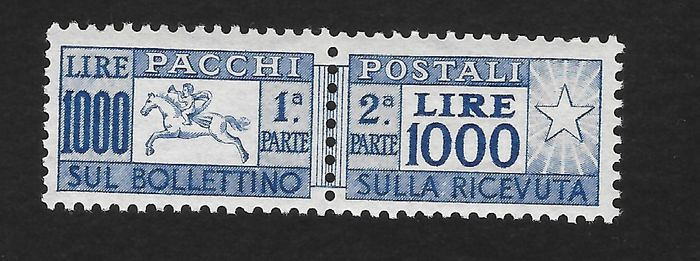 Italien Republik 1954 - Parcels 1,000 lire, little horse, comb perforation - Sassone N. 81/I