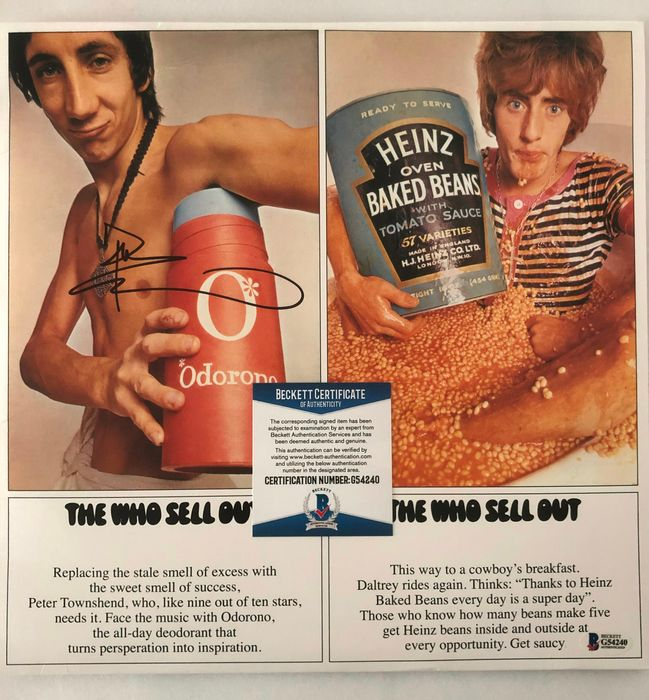 The Who - Pete Townshend - The Who Sell Out - Álbum de discos de vinilo firmado a mano (Beckett COA) - 2015/1967