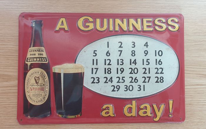 A Guinness a day! - Chapa-reclameposter - metaal