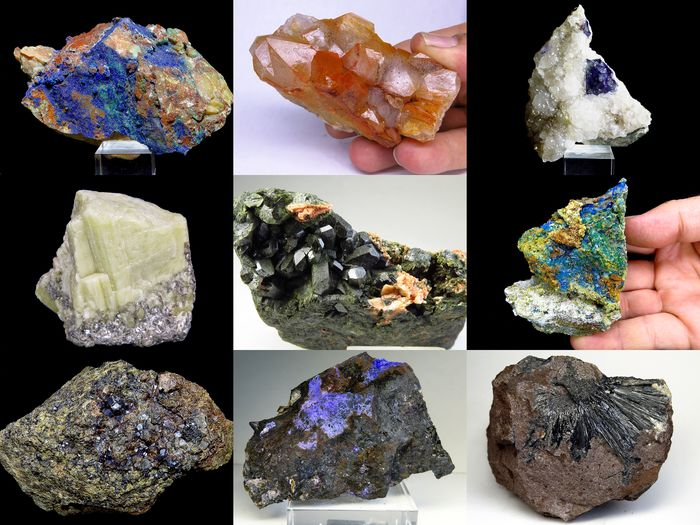 LOT COLLECTION MINERALS MEDIUM SIZE FROM SPAIN, PORTUGAL, MOROCCO Mineral Collection - 9×6×5 cm - 1519 g - (9)