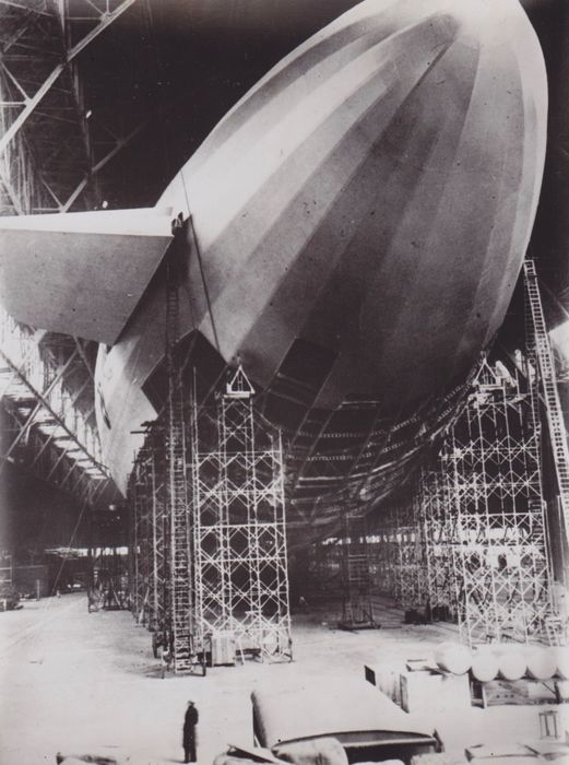 Keystone View Co, - USS Macon inside its hangar, Ohio - c1934