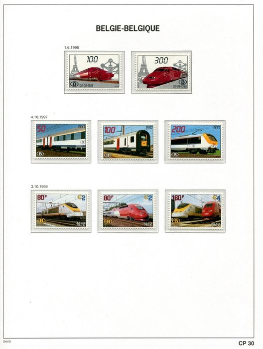 Belgium 1996/2012 - Collection of railway vignettes on Davo album pages