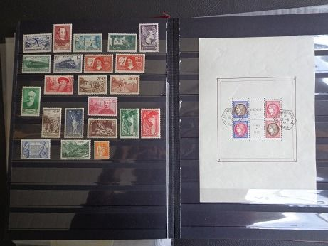 France - 1937, full year, mint, including Winged Victory of Samothrace &  Paris PEXIP exhibition block No. 3 - Yvert n°334 au 359 dont 354/55