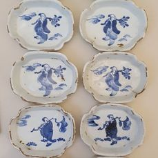 Kom (10) - Porselein - A rare set of 10 Ko-sometsuke dishes - China - 17e eeuw