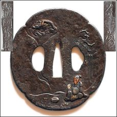 Tsuba large Japanese - Iron katana guard - Ri Tekkai design - Kaneie school signed - Edo period