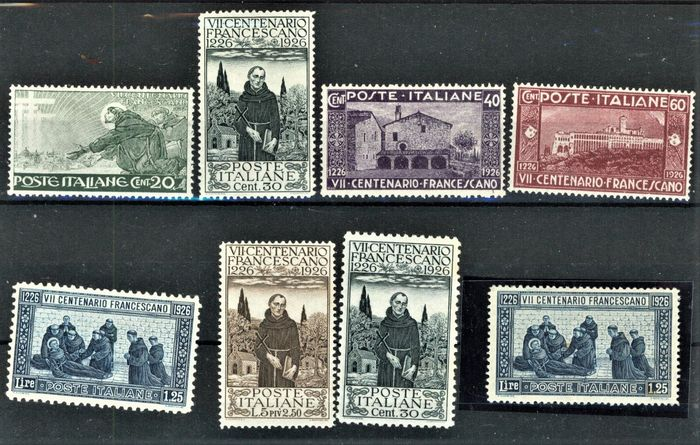 Royaume d'Italie - Franciscan centenary, complete set of 8 values