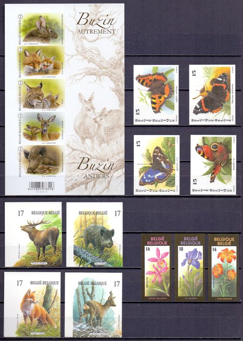 Belgium 1990/2014 - Compilation of imperforate stamps André Buzin topical issues. All with rear number - OBP / COB BL214, 2503/06, 2748/51,
