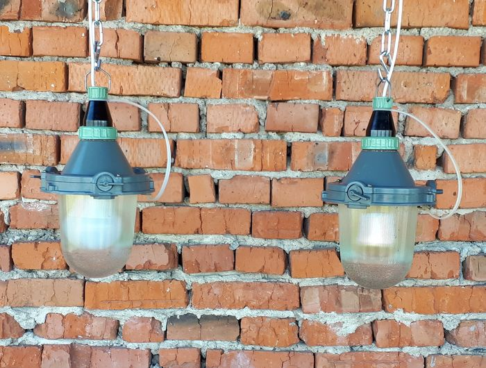 Two Soviet  industrial factory lamps - Soviet lamp