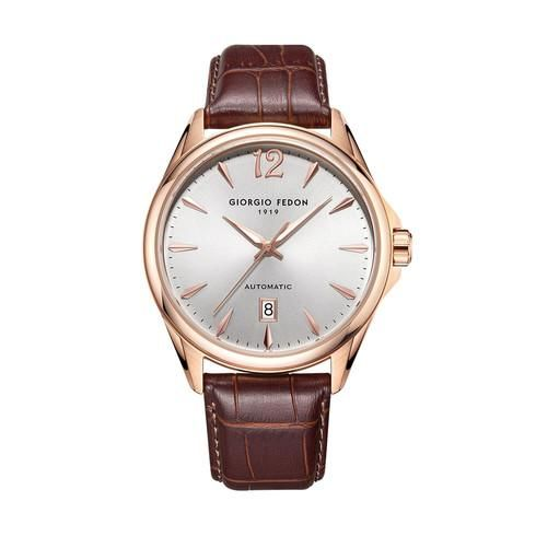 """Giorgio Fedon - Automatic PAT IP Rose Gold Silver Dial Brown Leather Strap - GFAT006 """"NO RESERVE PRICE"""" - Men - 2011-present"""