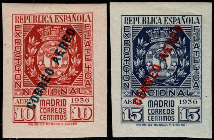 Spanje 1936 - 'Exposición Filatélica' (Philatelic exhibition) in Madrid. Airmail. Complete set - Edifil 729/730