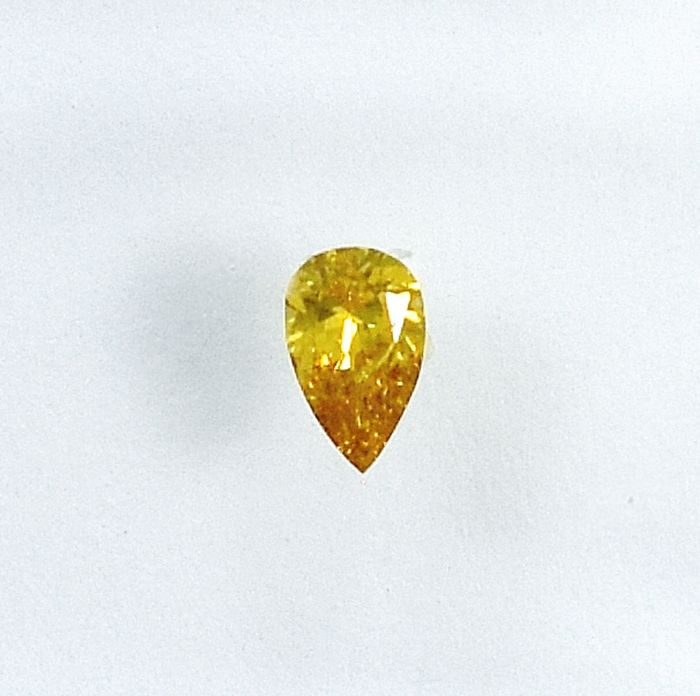 Diamond - 0.10 ct - Pear - Natural Fancy Intense Orangy Yellow - I1 - NO RESERVE PRICE