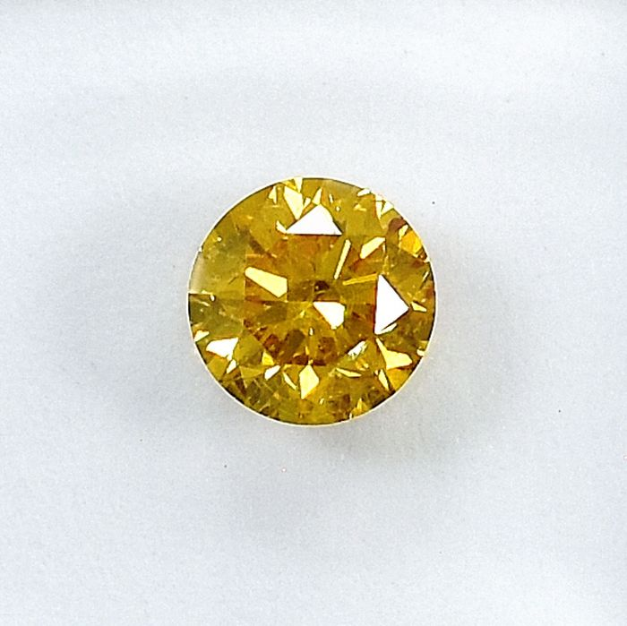 Diamond - 0.58 ct - Brilliant - Natural Fancy Deep Orangy Yellow - I1 - NO RESERVE PRICE