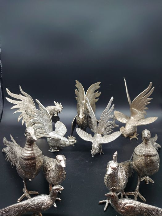 A family of pheasant's & family of Cockerels (11) - Silverplate