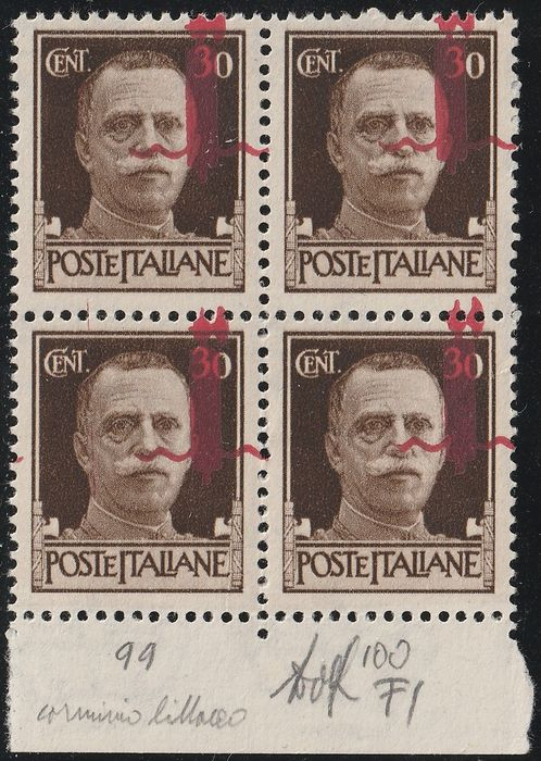 Italienische Sozialrepublik 1944 - Florence issue CL 30 c. block of four with straddling oblique overprint, sheet margin, centred, - Sassone N.492/Ipm+Iq
