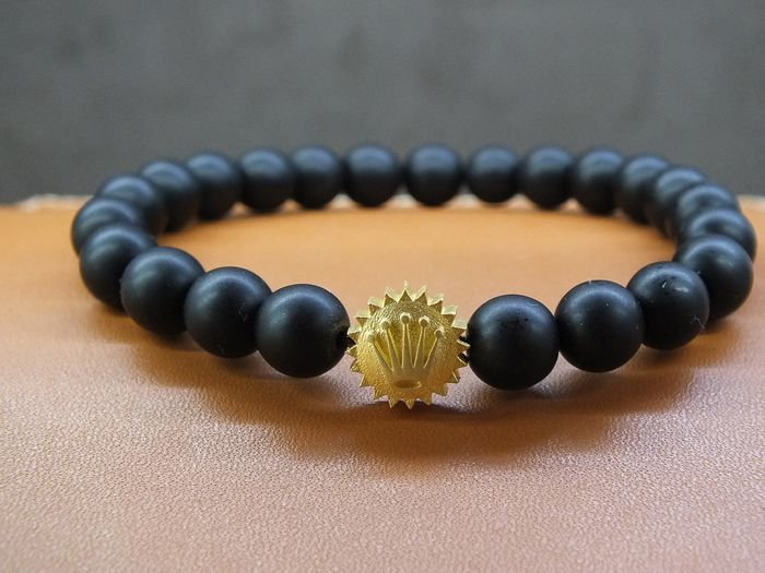 925 silver flexible Rolex crown bracelet Natural BLACK MAT ONIX  stone - Unisex - 2011-present