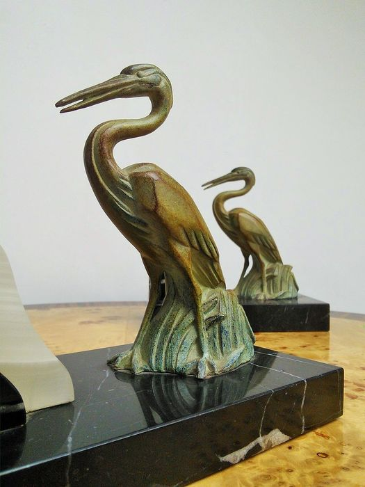 Art Deco Bookends set - Herons in the reeds (2)