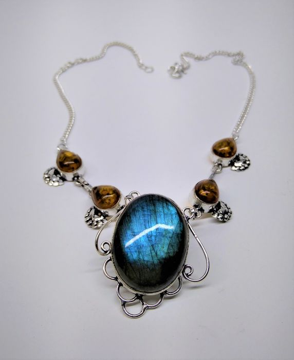 Amazing Unusual Classe A  Blue Labradorite and Amber Necklace - 50×50×50 cm - 25 g