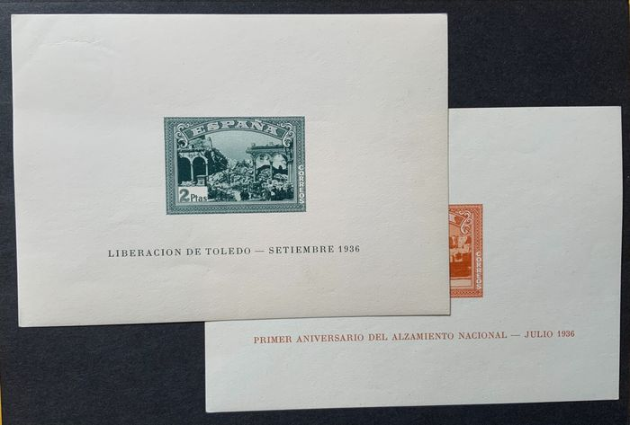 Spanien 1937 - Spanish Coup of July 1936 imperforated miniature sheets - Edifil 838/39