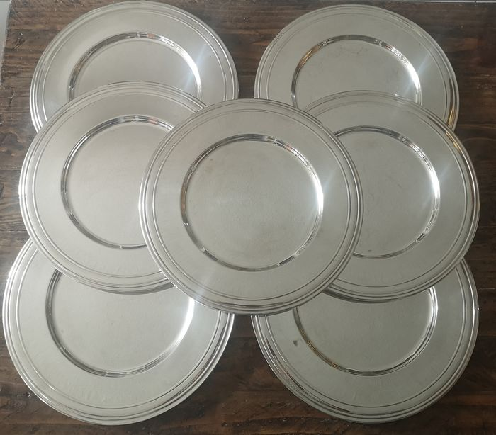Set of 7 GELB France silver plated bottom / under plates (7) - Silverplate