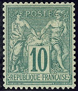 Frankreich 1876 - Sage, Type II, N under U, 10 centimes green - Yvert 76