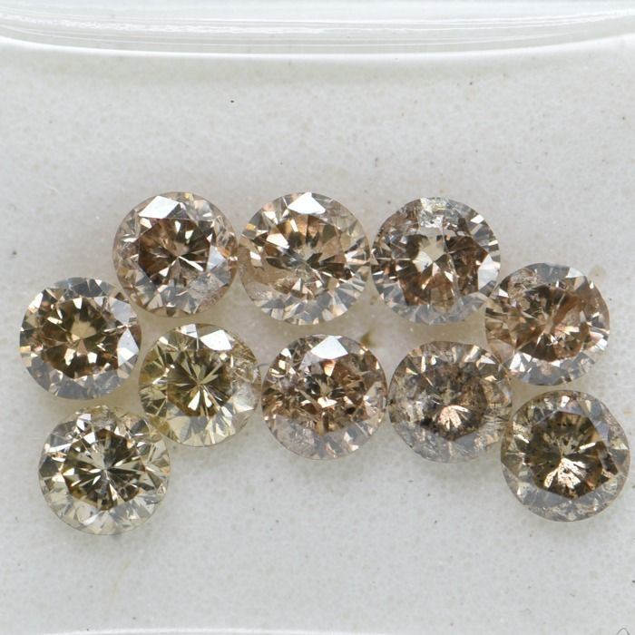 10 pcs Diamante - 1.09 ct - Redondo brillante - Brown - I1     GWLAB certified    ** No Reserve Price **