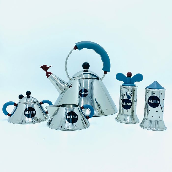 Michael Graves - Alessi - Teakettle - Sugar and Cream - Pepper and Salt (5) - MG