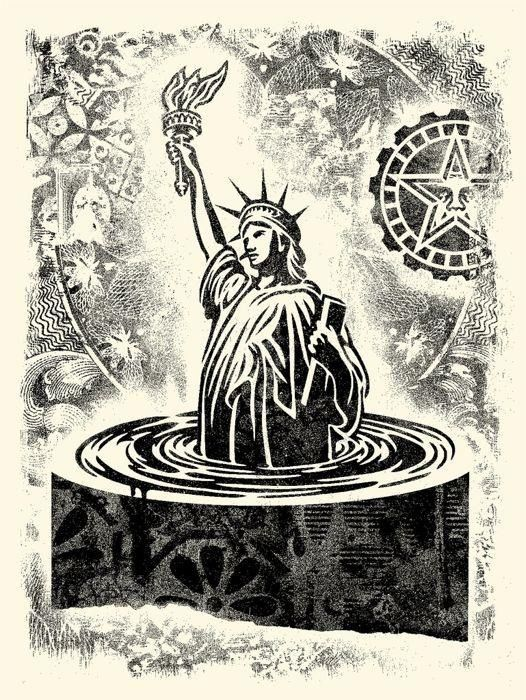Preview of the first image of Shepard Fairey (OBEY) - Sinking Liberty Damaged.
