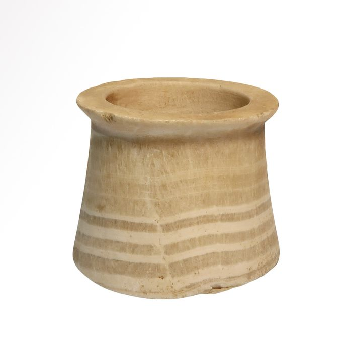 Ancient Egyptian or Bactrian  Alabaster Banded Vessel