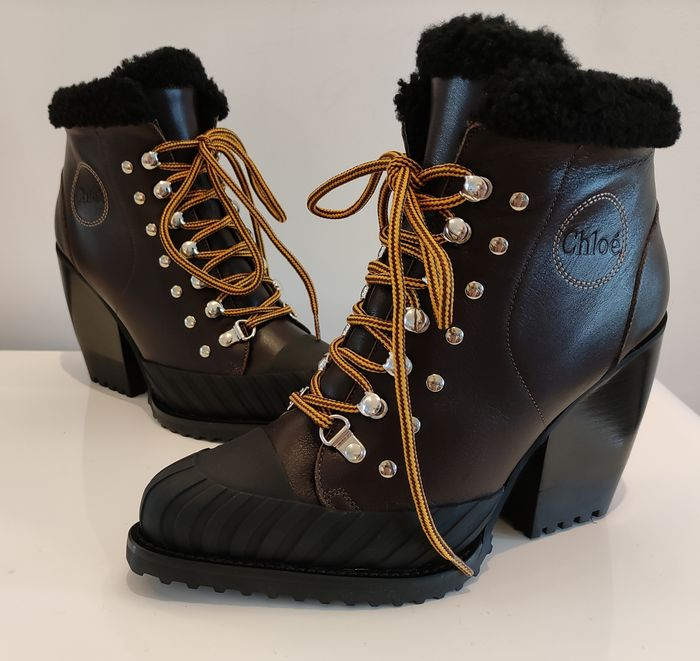 Chloé - Rylee Shearling Mountain Lace up Botines - Talla: IT 38.5