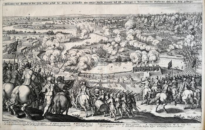 Matthäus Merian (1593-1650) - The Battle of Rain am Lech - victory of the Protestant Swedes against the Catholic troops of Tilly