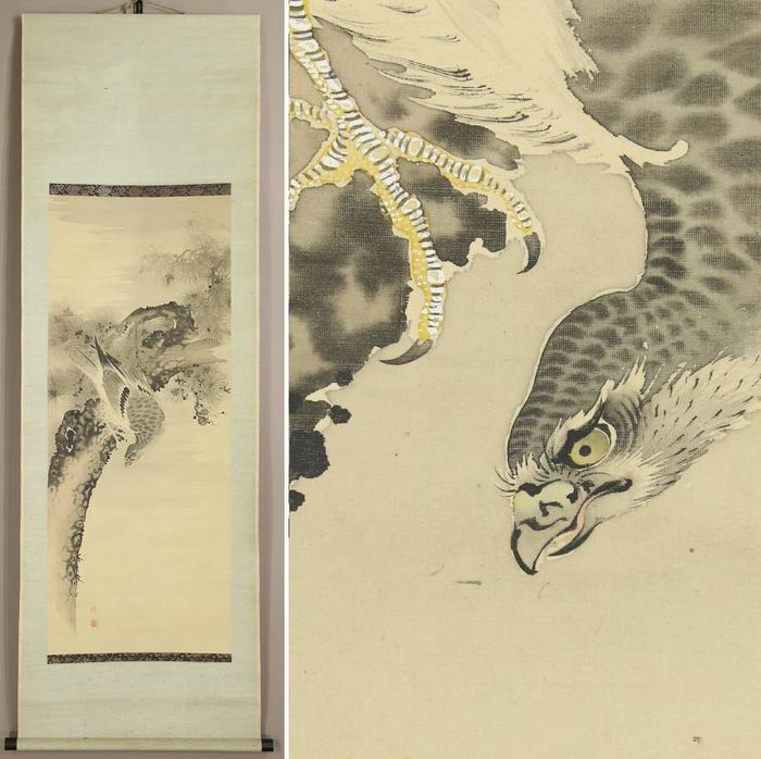 Rouleau - Soie - Silk scroll  Hawk on pine wood - Japon - Période Shōwa (1926–1989)