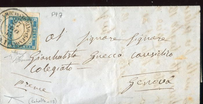 Italienische antike Staaten - Sardinien 1855 - 20 cents cobalt on letter to Genoa, used in August '55 and with travelling post office cancellation - Sassone N. 15