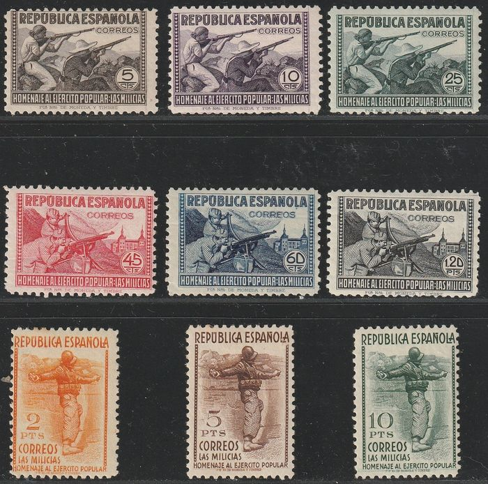 Espagne 1938 - Tribute to the Popular Army - Edifil 792/800