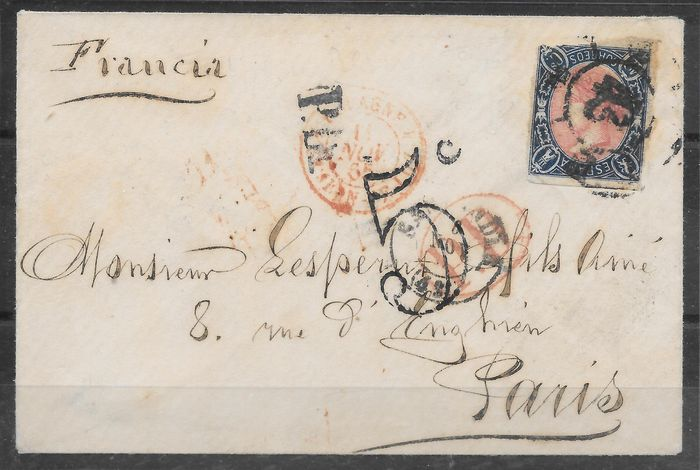 Spain 1865 - 12 Cuartos, inverted frame on letter from Santander to Paris. CEM certificate. - Edifil 70ei