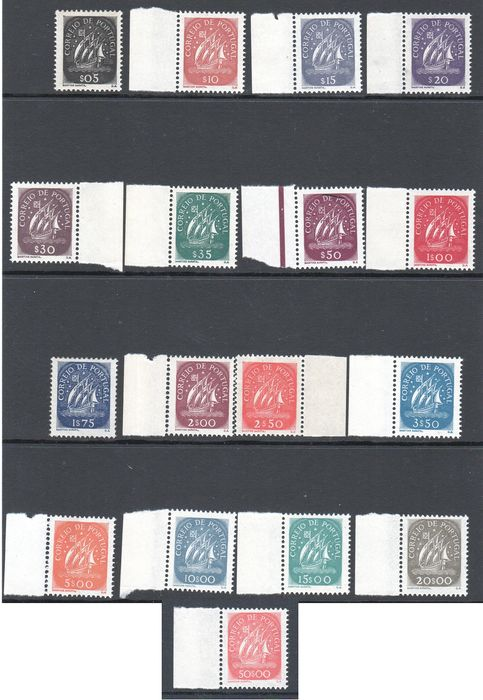 Portugal 1943 - Caravels Complete New Series without Hinge Sheet Edge - Mundifil 617/633