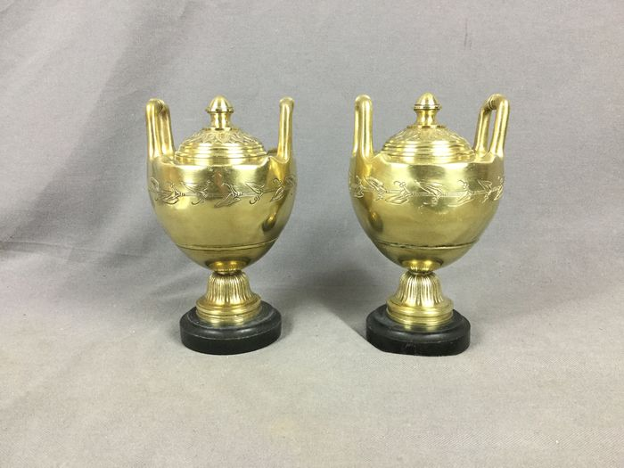 pair of cassolette decorated with ivy art nouveau - Bronze, Marble