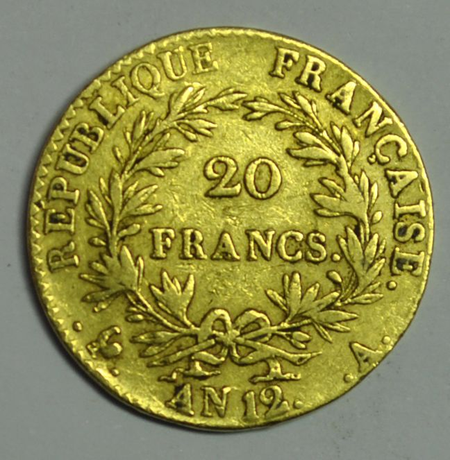France. Consulat (1799-1804). 20 Francs An 12-A, Paris